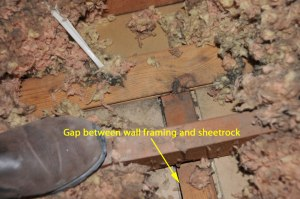 Gap between wall framing and sheetrock