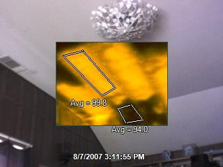 Thermal image showing poor attic insulation