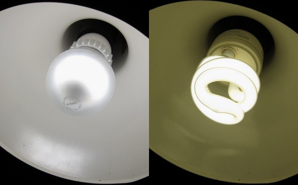 Using the same camera settings, the LED is much closer to an incandescent